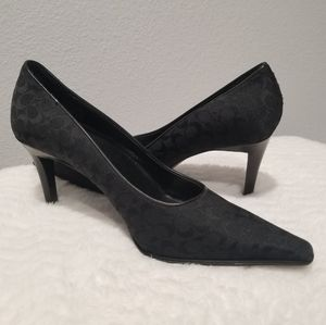 Coach Pumps Shoes Black Signature Logo Sz 5.5 EUC